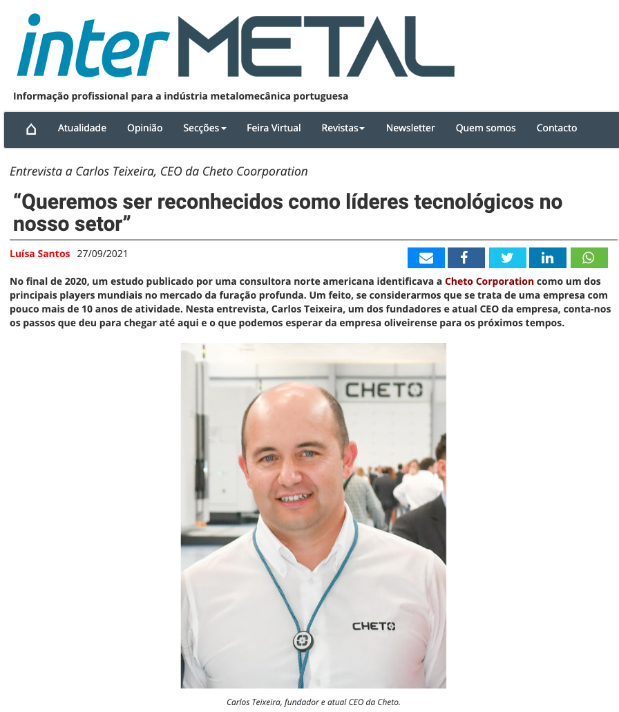 InterMetal article: Interview with Carlos Teixeira, CEO of Cheto Corporation