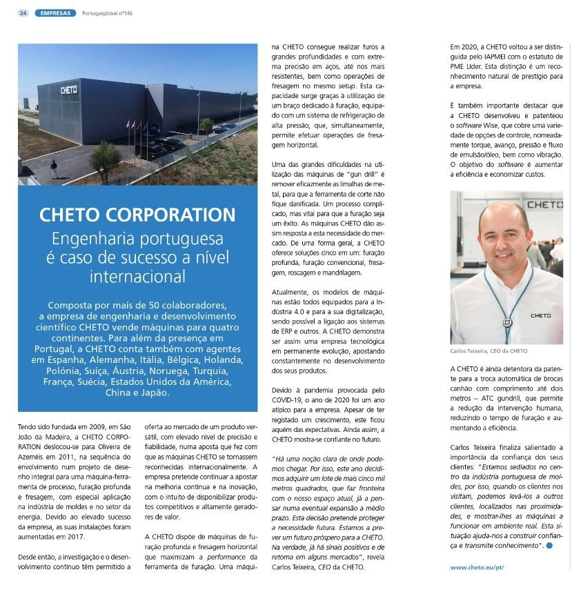 PortugalGlobal article: Interview of Cheto Corporation